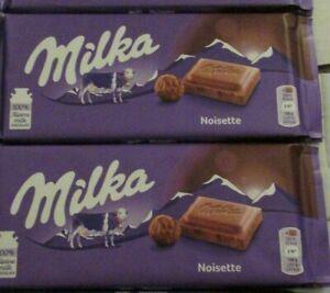 4 BARS MILKA NOISETTE CHOCOLATE ,100G BARS, MILK CHOCOLATE WITH HAZELNUT PASTE