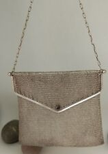 ANTIQUE SOLID SILVER GERMAN MESH PURSE WITH SAPPHIRE 166g