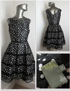 WOW! Super Cute Raw Silk 1950s Retro Polka Dot Party Dress by TAYLOR - Sz 4