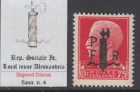 ITALY RSI (Social Rep) ALESSANDRIA Sassone n.4 SIGNED DIENA cv 1050$  MNH**