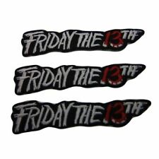 """Friday The 13th Horror Movie Name Logo 4"""" Wide Embroidered Patch Set of 3"""