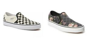 Vans Asher Women's Skate Shoes Slip on sneaker black check floral 6.5 7 7.5 10