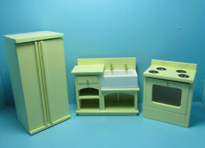 Dollhouse Miniature Wood Kitchen 3 Piece Set with Farm Sink in Yellow T0142-2