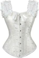 Sexy off white / ivory brocade steampunk overbust corset, zip fastening. size 8