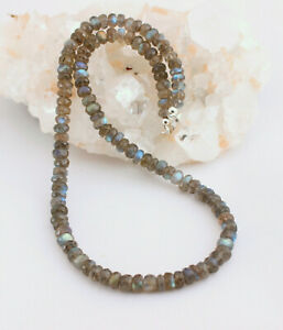Classy Labradorite Chain Gemstone Faceted 1A Quality Blue -schimmer 44cm