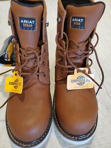 "ARIAT Work Men's Rebar Wedge H20 6"" comp toe waterproof Work Boots 9 D NWT"