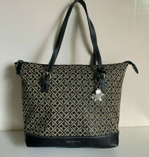 NEW! TOMMY HILFIGER BLACK NATURAL ZIPPERED SHOPPER SATCHEL TOTE BAG PURSE $99