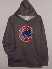 NWT CHICAGO CUBS MAJESTIC GRAY HEATHER SYNTHETIC HOODIE SWEATSHIRT HOODED