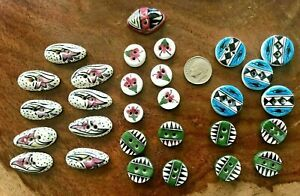 Lot of 29  Vintage  Ceramic Handmade Buttons Hand painted
