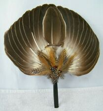"Vintage Brown Feather Hand Held Fan 12"" X 11"""