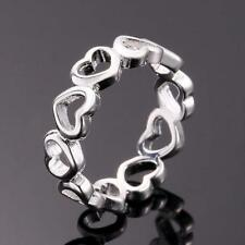 925 Sterling Silver Filled Heart Ring Women's Fashion Jewelry Gift Size O