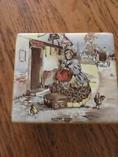 Staffordshire England Sairey Gamp ceramic box with cover,4x4,Charles Dickens