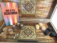 VINTAGE Wood INLAID Backgammon Set Wooden CHECKERS Handmade Syrian