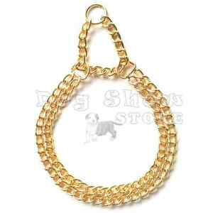 Pet Dog show Martingale Collar Choker Gold color Double Chain solid metal