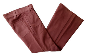 VINTAGE 70S JESSE JEANS PINK BRUSHED COTTON FLARED FLARES TROUSERS-32 WAIST-NEW