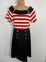 WOMENS DOLLY & DOTTY BLACK/RED STRIPED 50'S VINTAGE ROCKABILLY SWING DRESS UK 16