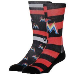 NWT Stance Miami Marlins Splatter Mens MLB Crew Socks Orange MSRP$18