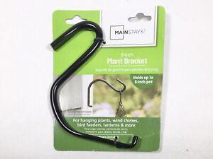 "MAINSTAYS 6"" PLANT BRACKET HOOK HEAVY DUTY BLACK ENAMEL COATED W/SCREWS"