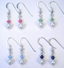 CUSTOM COORDINATED GENUINE PEARL CRYSTAL EARRINGS TO MATCH BROKEN CHINA NECKLACE