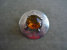 ANTIQUE VICTORIAN SCOTTISH THISTLE BROOCH/ AMBER GLASS STONE/ EPNS/ C1900
