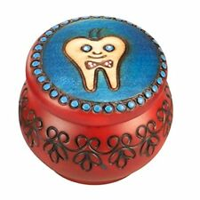 Tooth Fairy Box Wooden Round Boy's Tooth and Curl Box First Tooth Keepsake Box