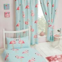 "FIFI FLAMINGO LINED CURTAINS 66"" X 54"" (168cm x 137cm) KIDS BEDROOM BLUE NEW"