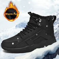 Men's Winter Leather Waterproof Hiking Boots Outdoor Fur lining Warm Sneakers