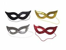 x3 STUNNING SEQUIN EYE MASQUERADE MASK BLACK RED SILVER GOLD VENETIAN GLITTER