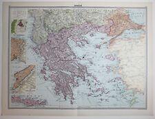 1920 LARGE MAP GREECE CRETE DARDANELLES BOSPHORUS ATHENS MOREA