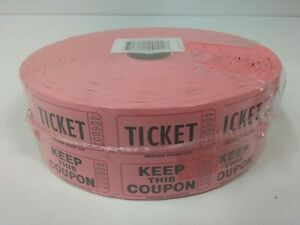Raffle Tickets 50/50 Double Red Roll of Tickets Keep This Coupon, Party Sealed
