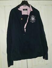 tolle Bluse Gr. XL schwarz rosa langarm von Galvanni Polo Neu