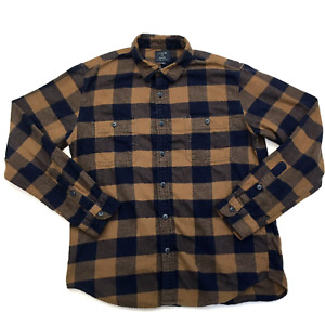 J. CREW Plaid FLANNEL Shirt Navy Blue Brown Check Long Sleeve, Men Sz L
