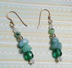 Handmade 14K Goldfilled Earrings Dangle Czech Glass Beads Amazonite Opalite 4cm