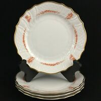 "Set of 4 VTG Salad Plates 7 7/8"" by Hutschenreuther Brocade Coral Germany"