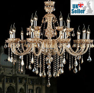 CHAMPAGNE Maple Leaf Genuine K9 Crystal Chandelier 6, 8, 10, 8+4,10+5 Arm Lights