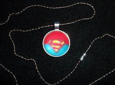 Superman Cabochon Pendant w/Chain