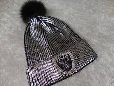RAIDERS hat CUSTOM SILVER pom beanie cap hand jeweled with Swarovski crystals