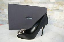 Dolce & Gabbana D&G Gr 35,5 Pumps Abendschuhe schwarz Seide Strass neu UVP 544 €