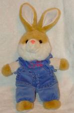 SKM Plush Tan White Bunny Rabbit Blue Velour Jumper Baby Love Heart Stuffed Toy