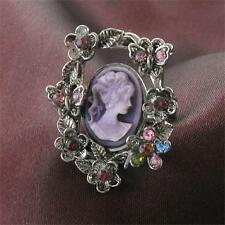 Colorful Flower Purple Cameo Ring Vintage Antique Style Stone Adjustable Size v1