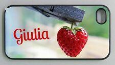 """Cover per iPhone 4 / 4s / 5 / 5s / 5c / 6 """"Heart Strawberry"""" con il tuo nome!"""