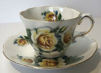 Vintage Rosina Bone China Tea Cup and Saucer Yellow Roses 14k Gold Trim England