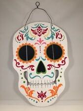 White Dia De Los Muertos Sugar Skull Sign  Halloween Day Of The Dead Decor New