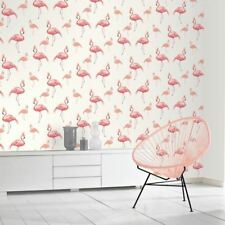 QUEEN FLAMINGO WALLPAPER GLITTER CROWNS - ARTHOUSE 674700 WHITE / PINK CORAL