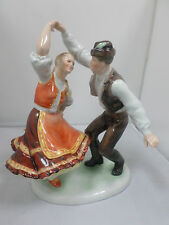 Large Herend Folk Dancing Couple in Hungarian National Dress, rare, perfect