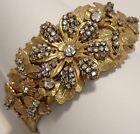 VINTAGE MIRIAM HASKELL GOLD GILT CRYSTAL RHINESTONE FLOWER BANGLE BRACELET