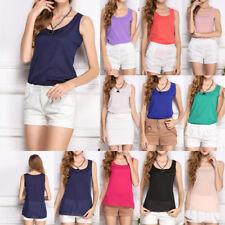 Fashion Womens O-Neck Sleeveless Pure Color Vest Chiffon Tops T-Shirts Blouse