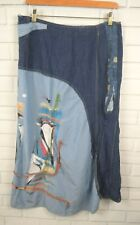 OHDD Save the Queen Italy 28 Art to Wear Denim Mixed Media Tie Hem Maxi Skirt