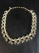 """Gold Tone Kramer Charity Ribbon Wrap Hinged Collar 13 1/2"""" Necklace Signed"""