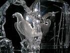 LARGE MATS JONASSON GLASS HERON & BALD EAGLE SCULPTURES SWEDEN SIGNED